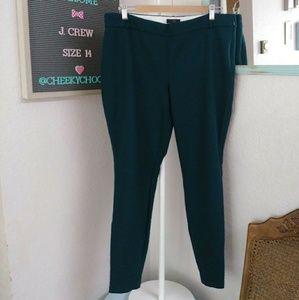 J. Crew Minnie moto wool pants skinny emerald